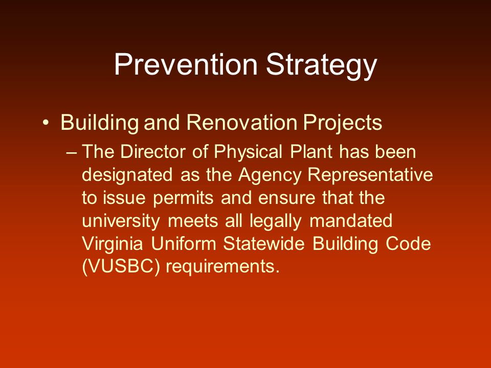Prevention Strategy Building and Renovation Projects