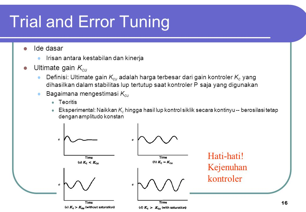 Trial and Error Tuning Hati-hati! Kejenuhan kontroler Ide dasar
