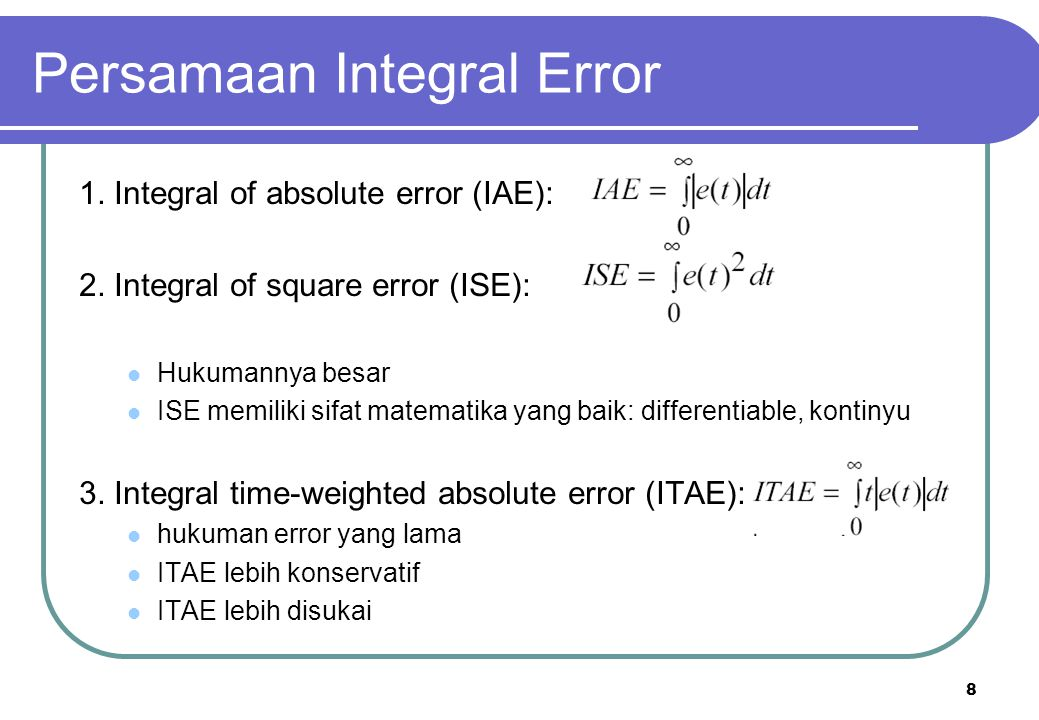 Persamaan Integral Error