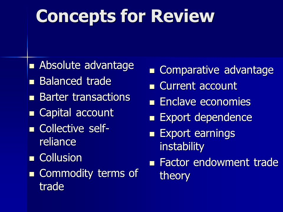 Concepts for Review Absolute advantage Comparative advantage