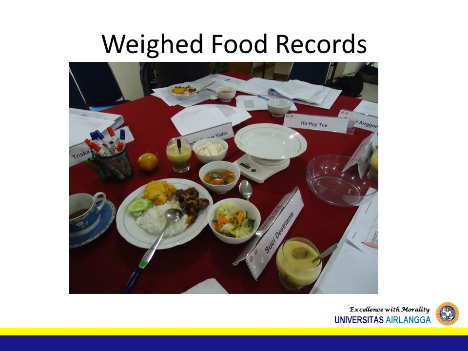 Weighed Food Records Excellence with Morality UNIVERSITAS AIRLANGGA