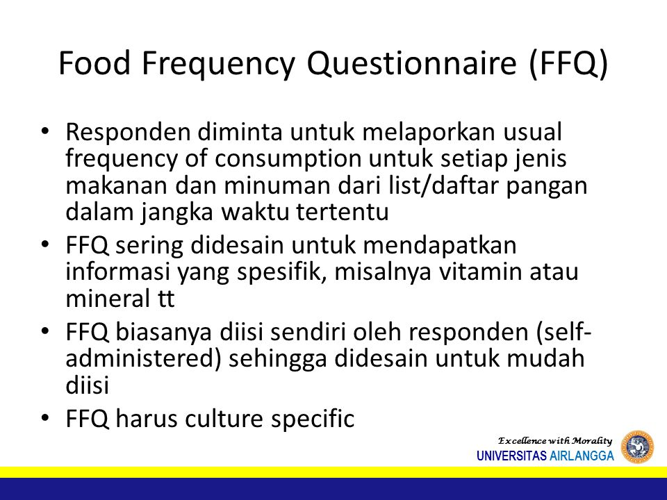 Food Frequency Questionnaire (FFQ)