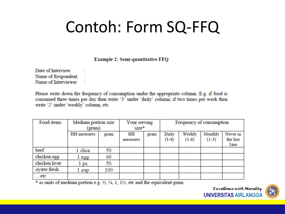Contoh: Form SQ-FFQ Excellence with Morality UNIVERSITAS AIRLANGGA