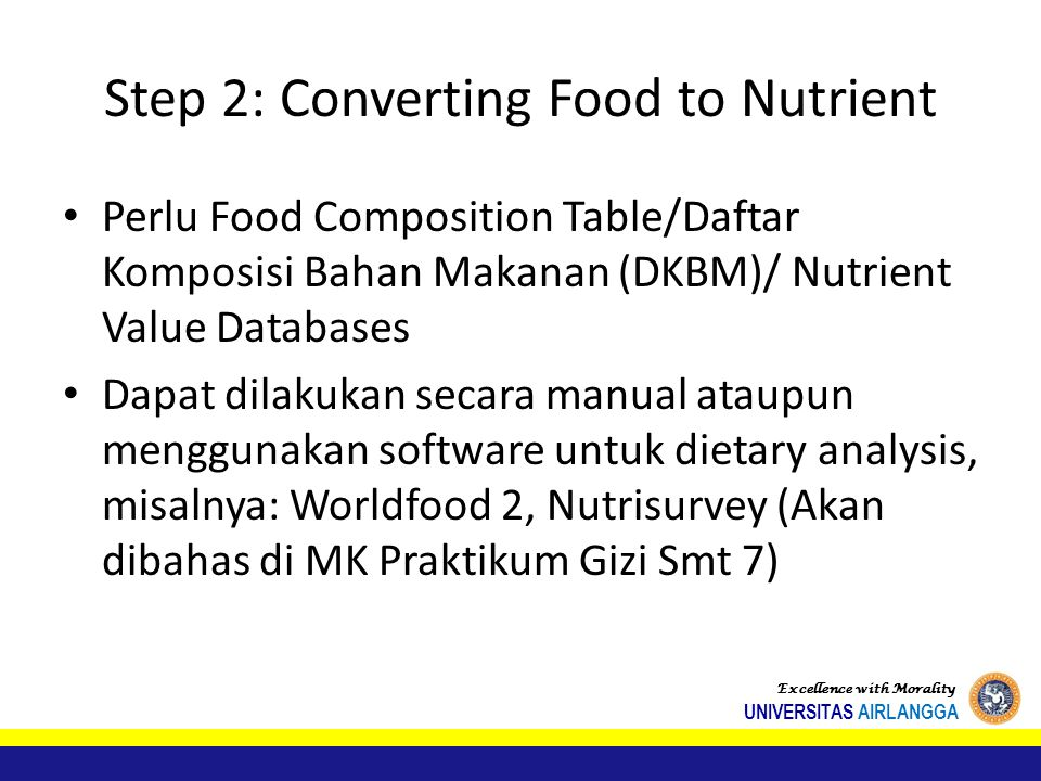 Step 2: Converting Food to Nutrient