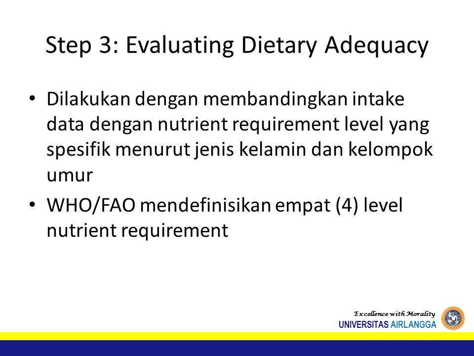 Step 3: Evaluating Dietary Adequacy