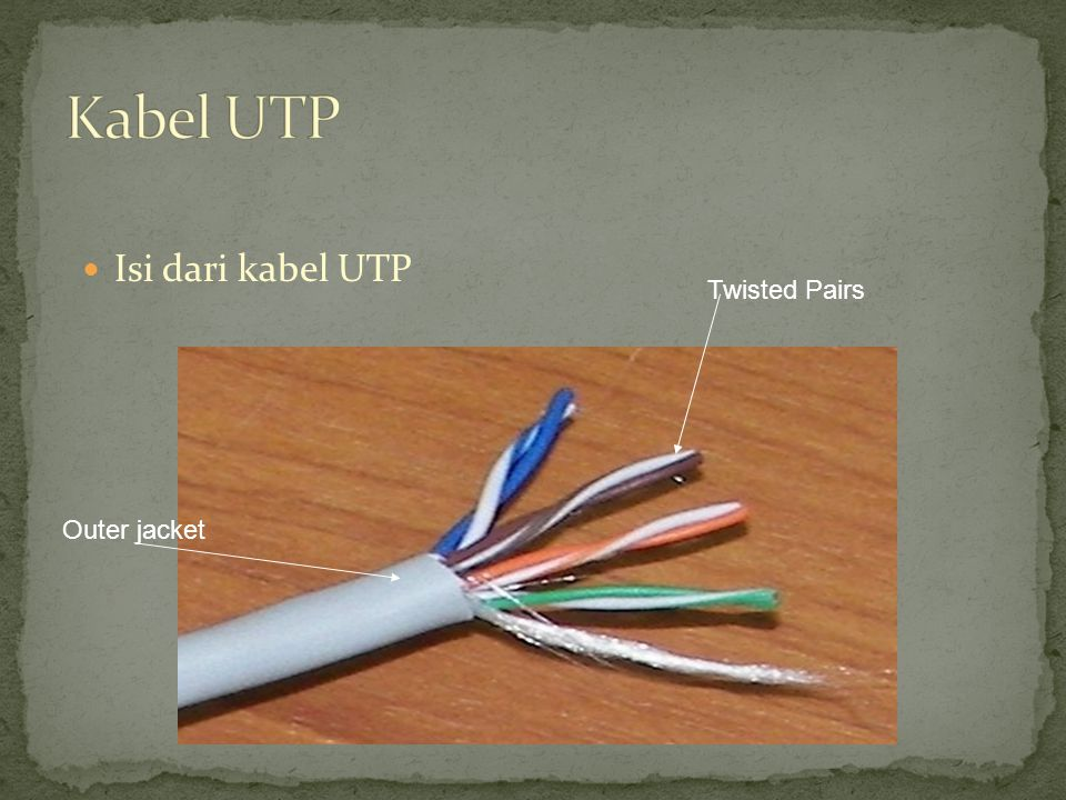 Kabel UTP Isi dari kabel UTP Twisted Pairs Outer jacket