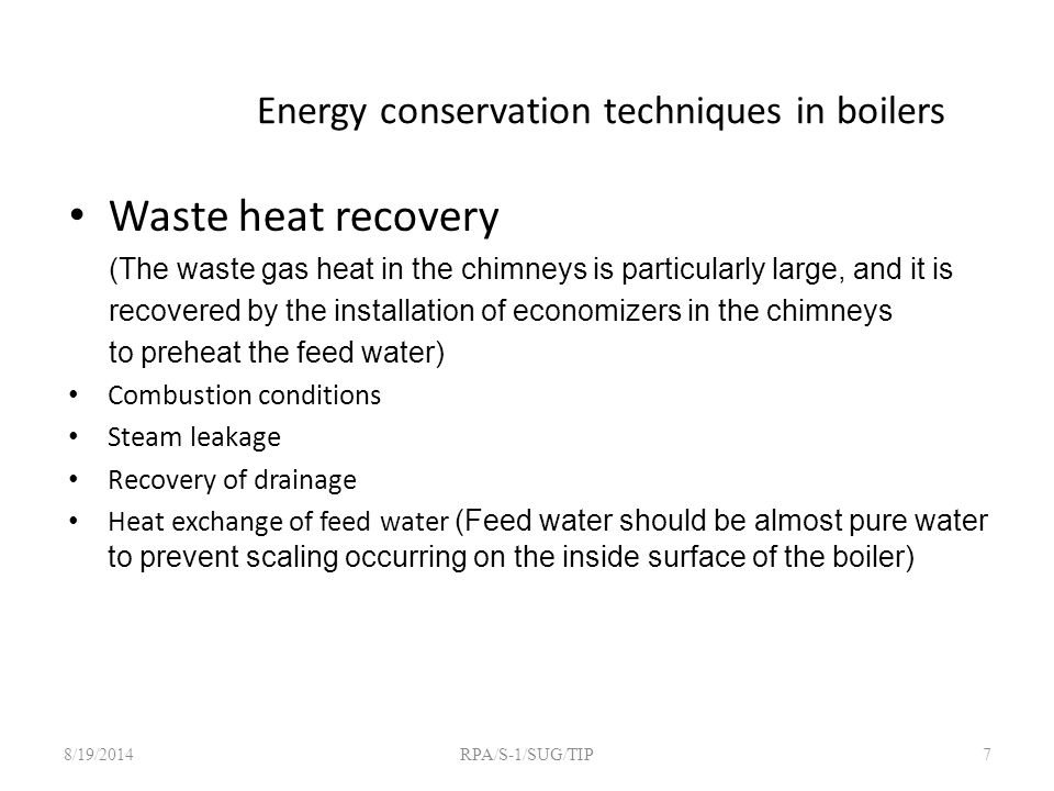 Energy conservation techniques in boilers