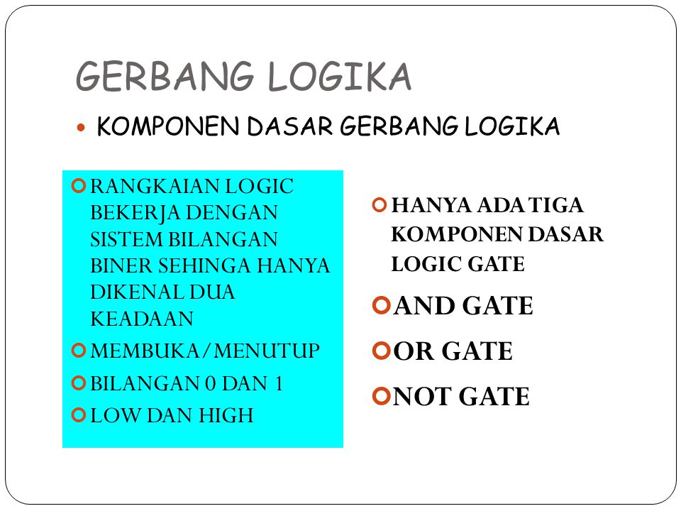 GERBANG LOGIKA AND GATE OR GATE NOT GATE KOMPONEN DASAR GERBANG LOGIKA