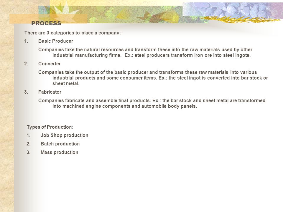 PROCESS There are 3 categories to place a company: Basic Producer