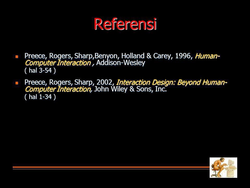 Referensi Preece, Rogers, Sharp,Benyon, Holland & Carey, 1996, Human-Computer Interaction , Addison-Wesley.