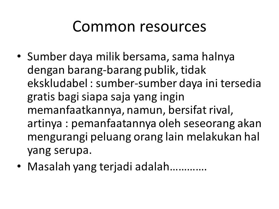 Common resources
