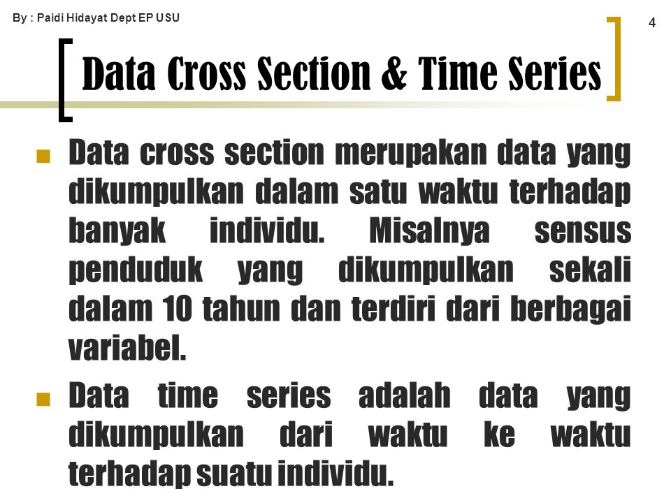 Data Cross Section & Time Series