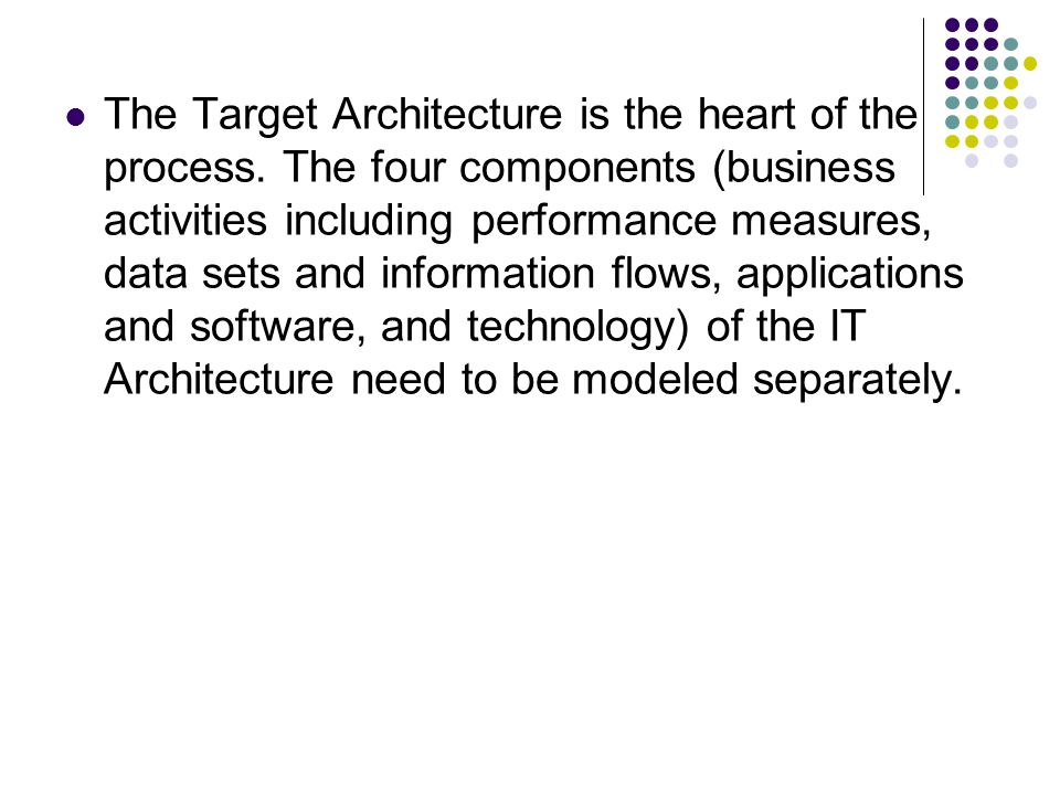 The Target Architecture is the heart of the process