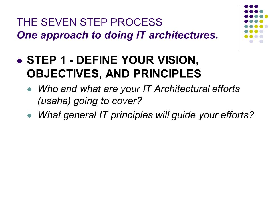 THE SEVEN STEP PROCESS One approach to doing IT architectures.