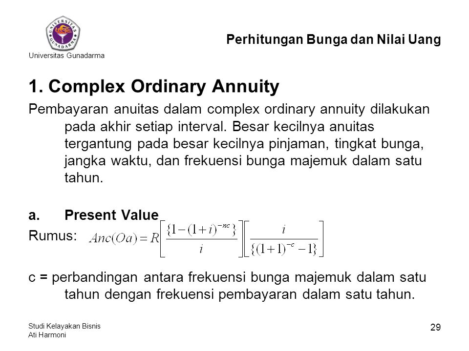 1. Complex Ordinary Annuity