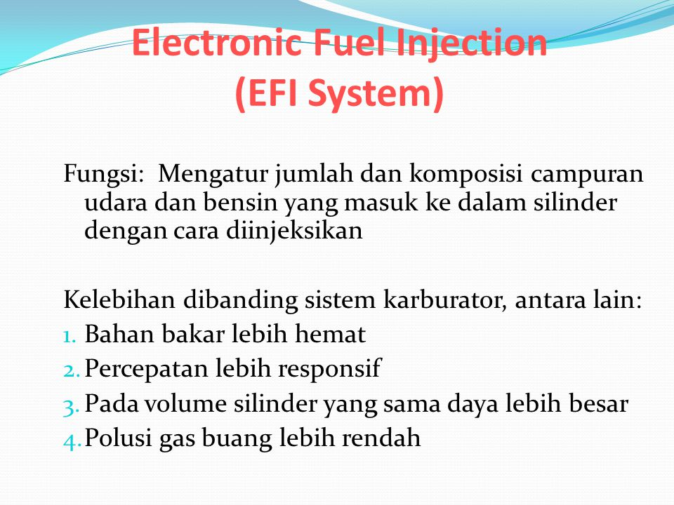 Electronic Fuel Injection (EFI System)