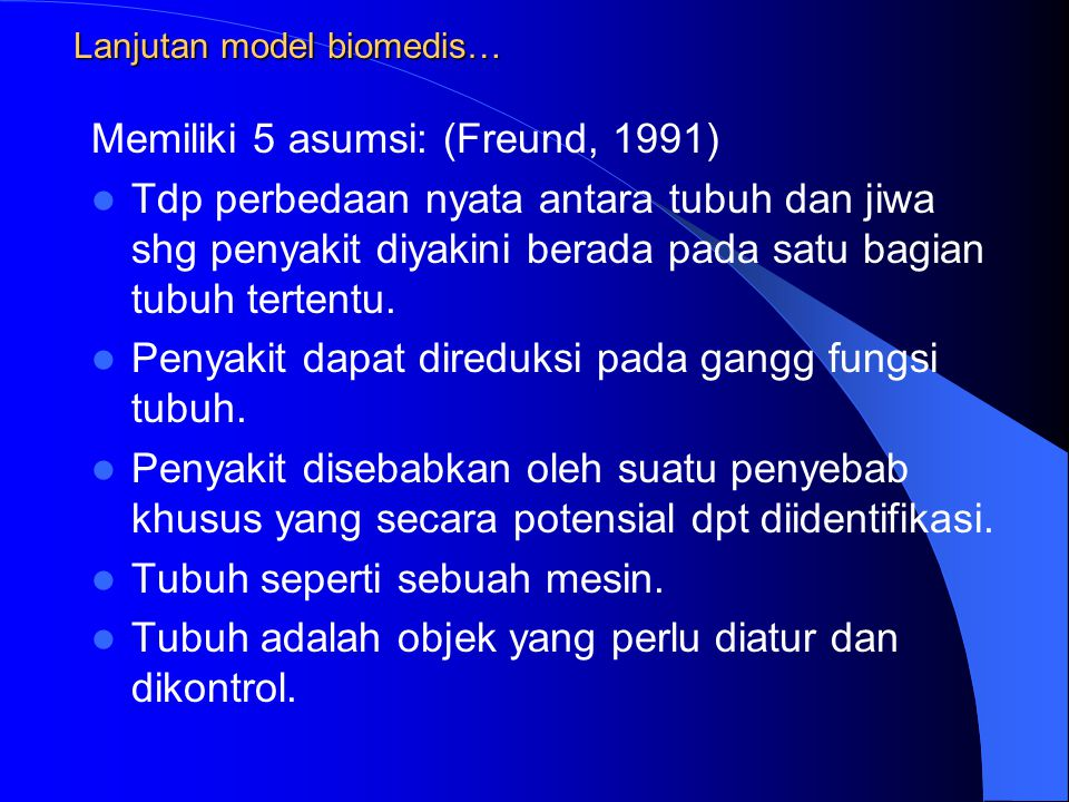 Lanjutan model biomedis…