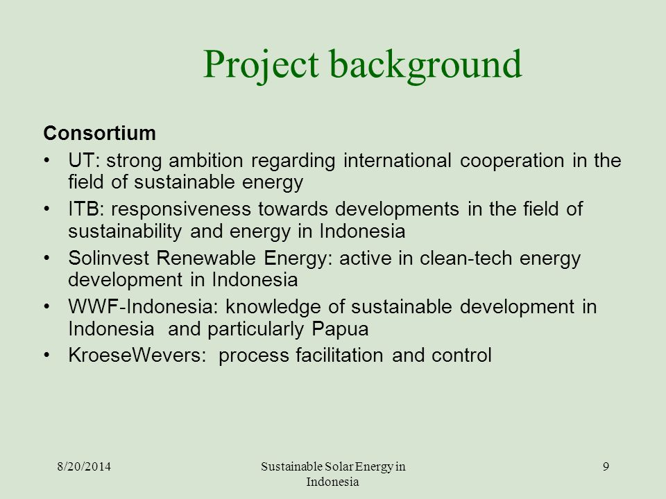 Sustainable Solar Energy in Indonesia