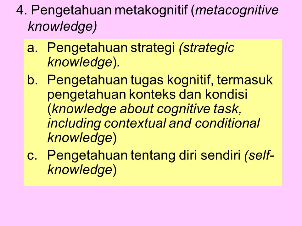 4. Pengetahuan metakognitif (metacognitive knowledge)