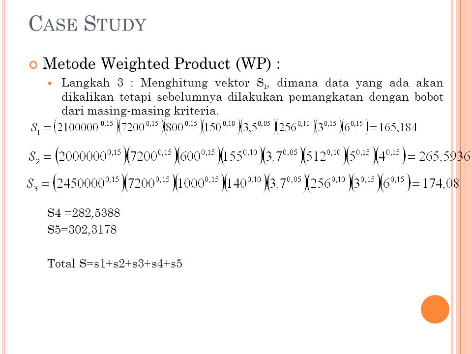 Case Study Metode Weighted Product (WP) :
