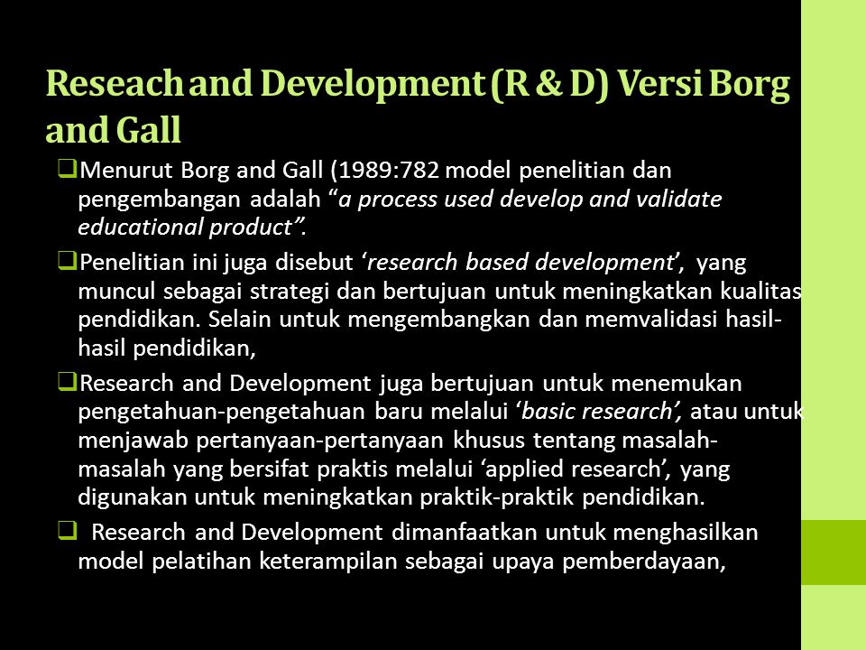 Reseach and Development (R & D) Versi Borg and Gall