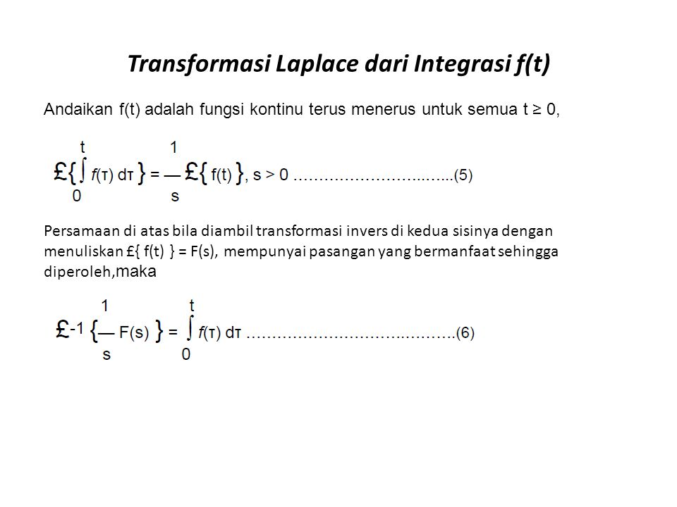 Transformasi Laplace dari Integrasi f(t)