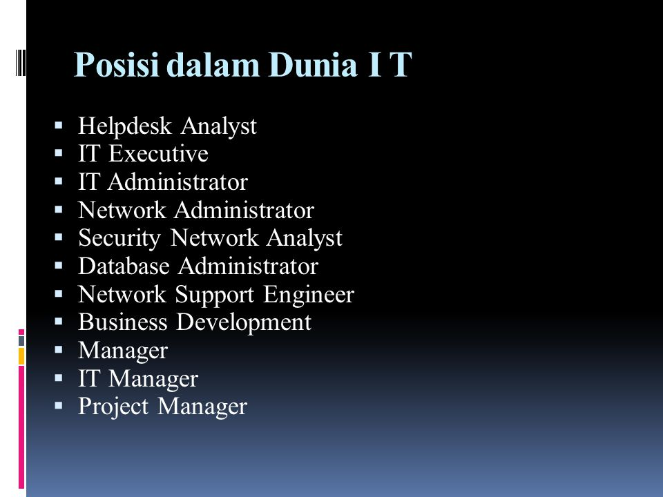 Posisi dalam Dunia I T Helpdesk Analyst IT Executive IT Administrator