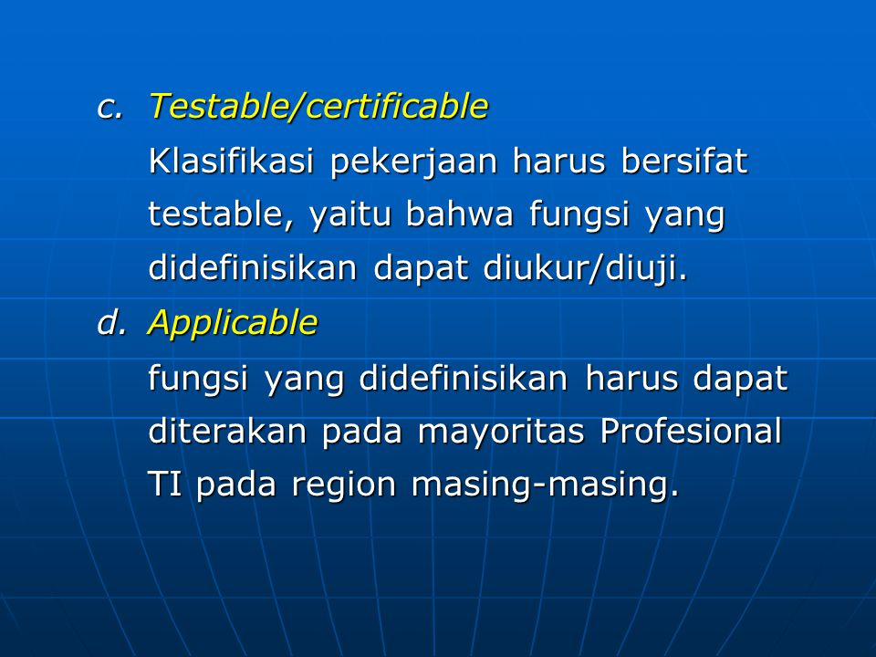 Testable/certificable