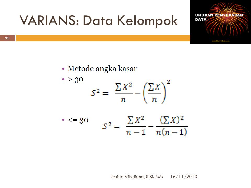 VARIANS: Data Kelompok