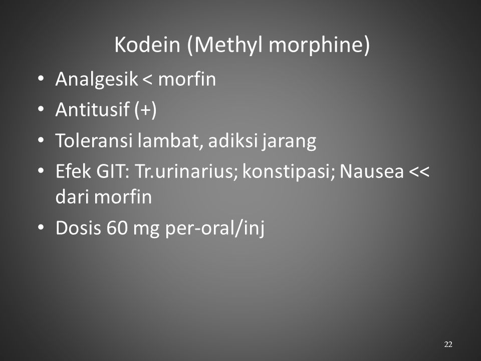 Kodein (Methyl morphine)