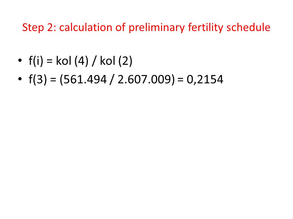 Step 2: calculation of preliminary fertility schedule
