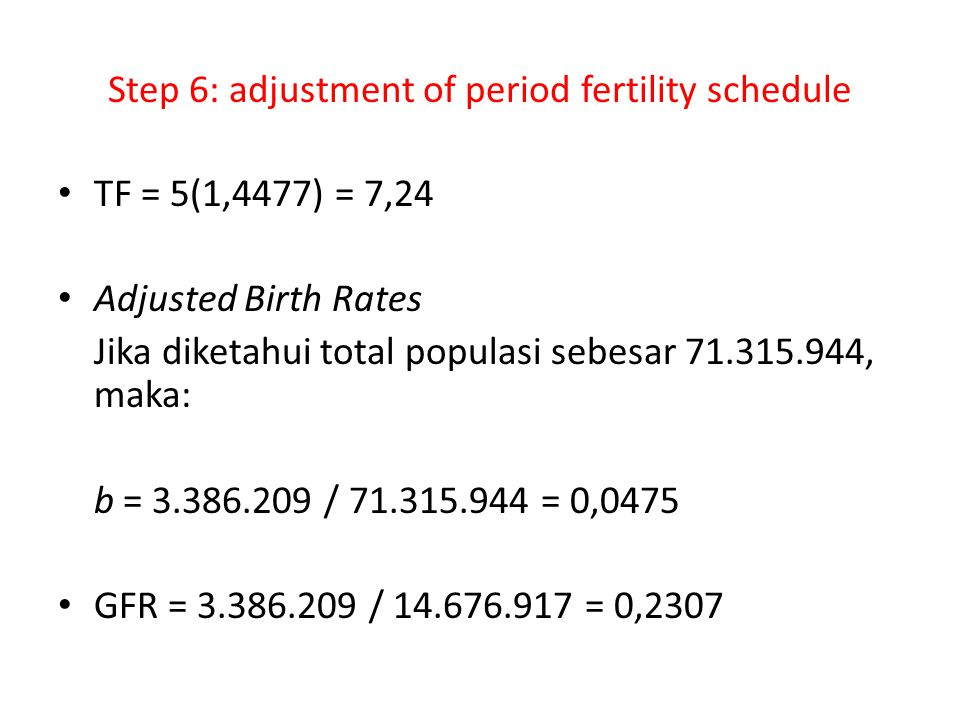 Step 6: adjustment of period fertility schedule