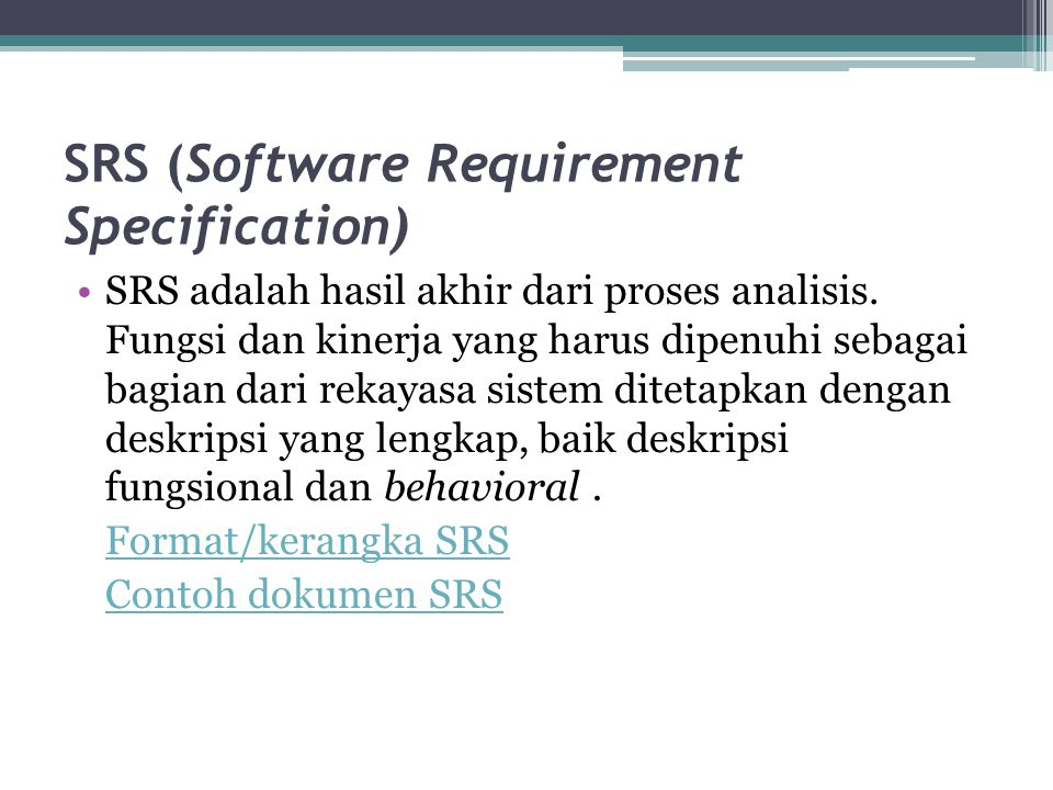 SRS (Software Requirement Specification)