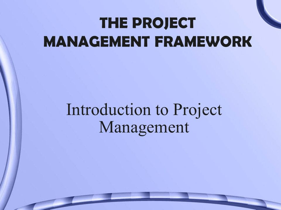 THE PROJECT MANAGEMENT FRAMEWORK