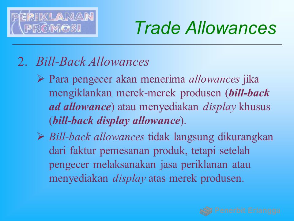 Trade Allowances Bill-Back Allowances