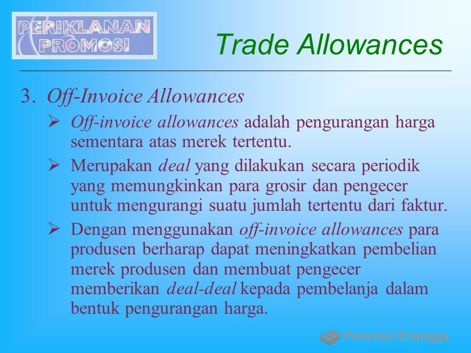 Trade Allowances Off-Invoice Allowances