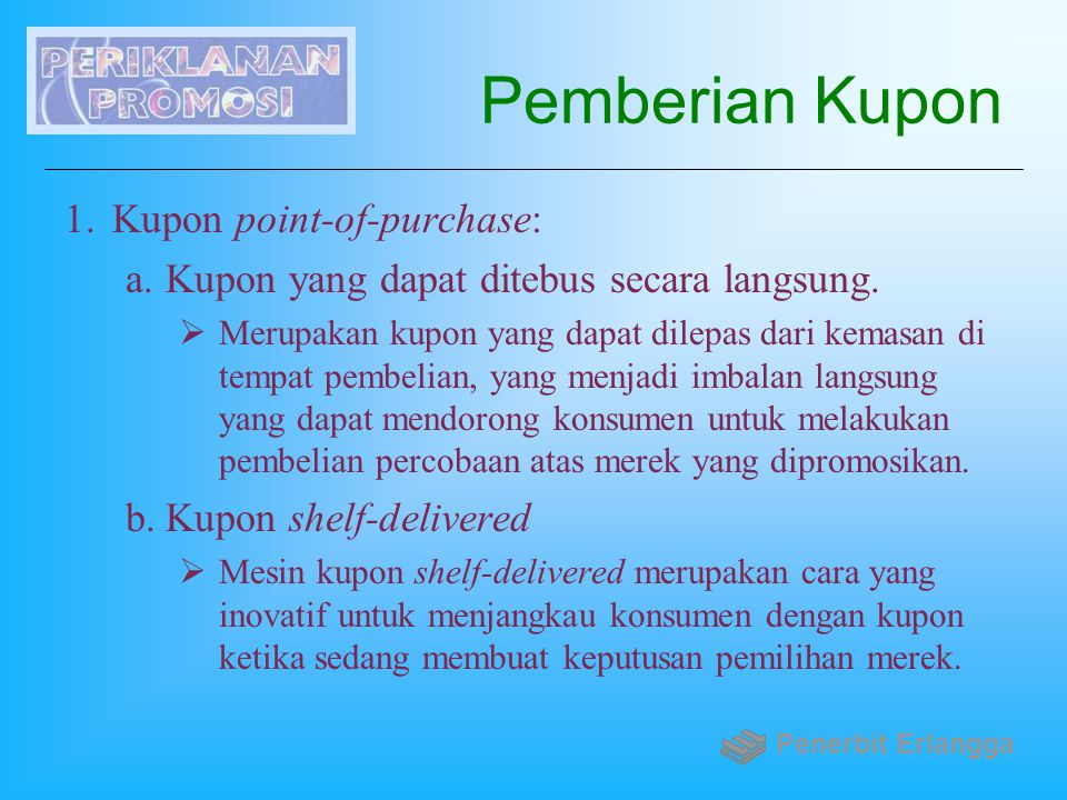 Pemberian Kupon Kupon point-of-purchase: