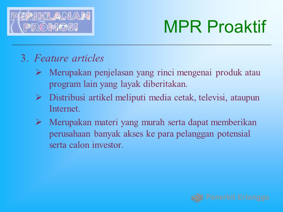 MPR Proaktif Feature articles