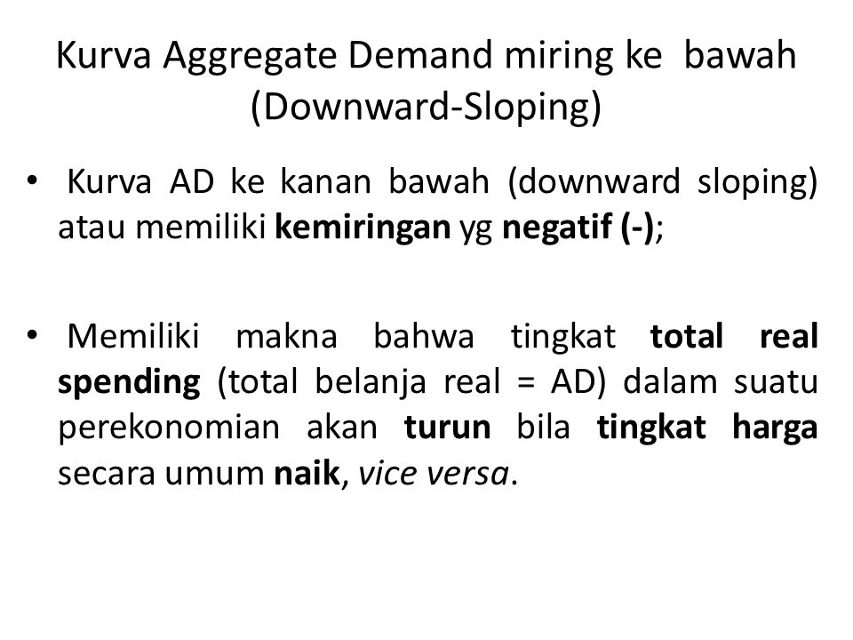 Kurva Aggregate Demand miring ke bawah (Downward-Sloping)