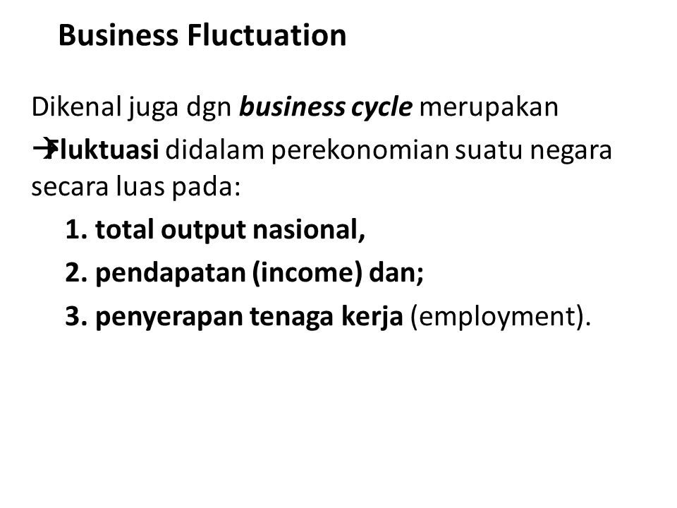 Business Fluctuation Dikenal juga dgn business cycle merupakan