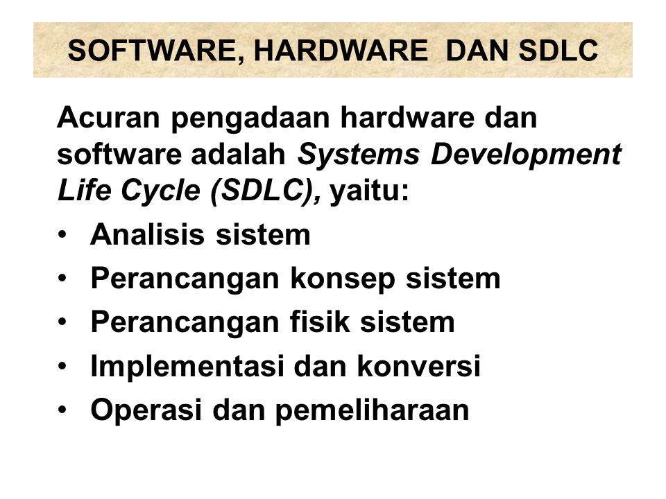 SOFTWARE, HARDWARE DAN SDLC