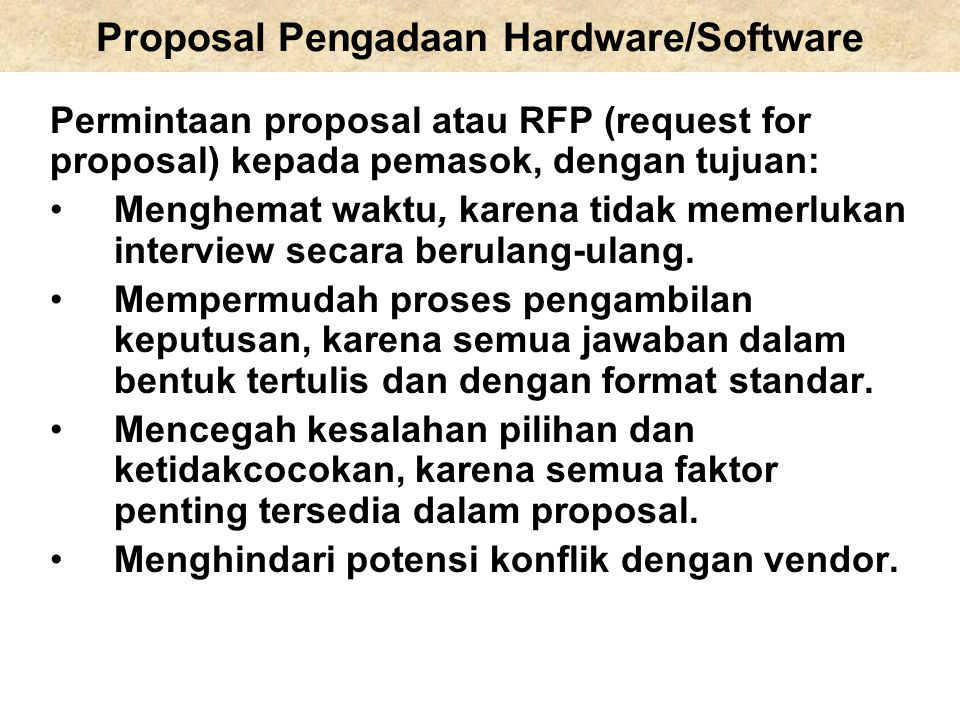 Proposal Pengadaan Hardware/Software