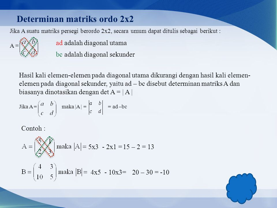 Determinan matriks ordo 2x2