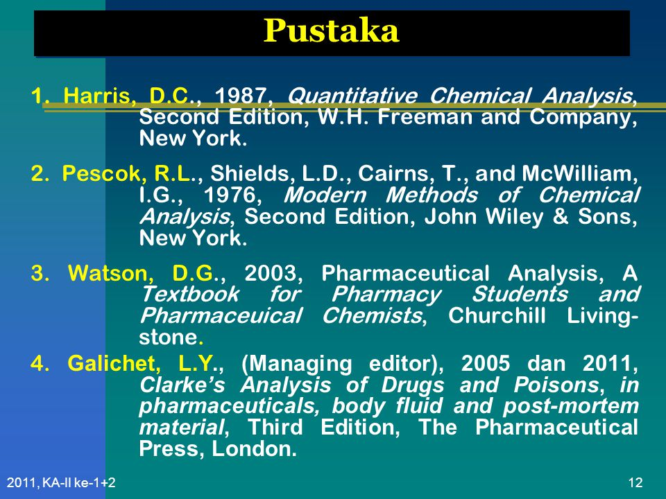 Pustaka 1. Harris, D.C., 1987, Quantitative Chemical Analysis, Second Edition, W.H. Freeman and Company, New York.