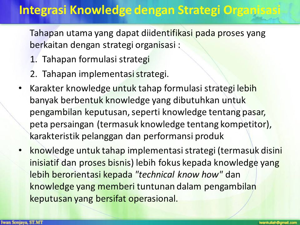 Integrasi Knowledge dengan Strategi Organisasi