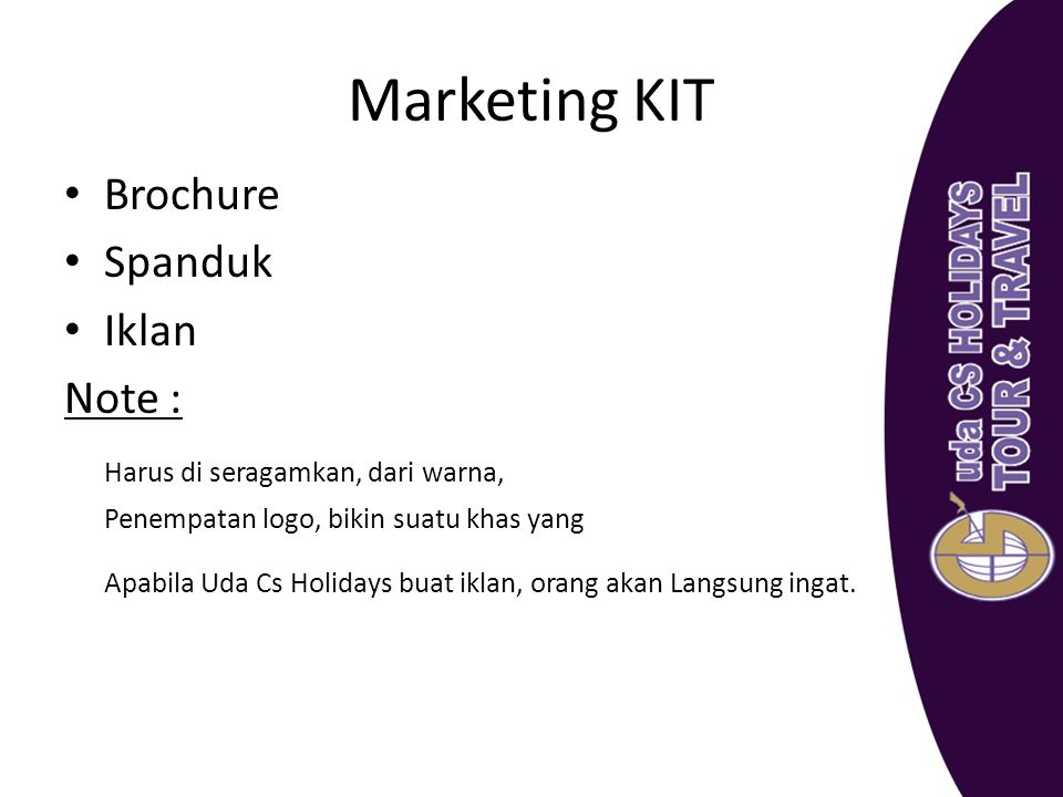 Marketing KIT Brochure Spanduk Iklan Note :