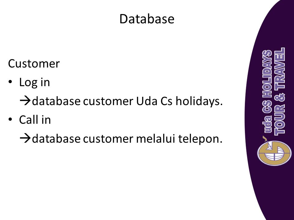 Database Customer Log in database customer Uda Cs holidays. Call in