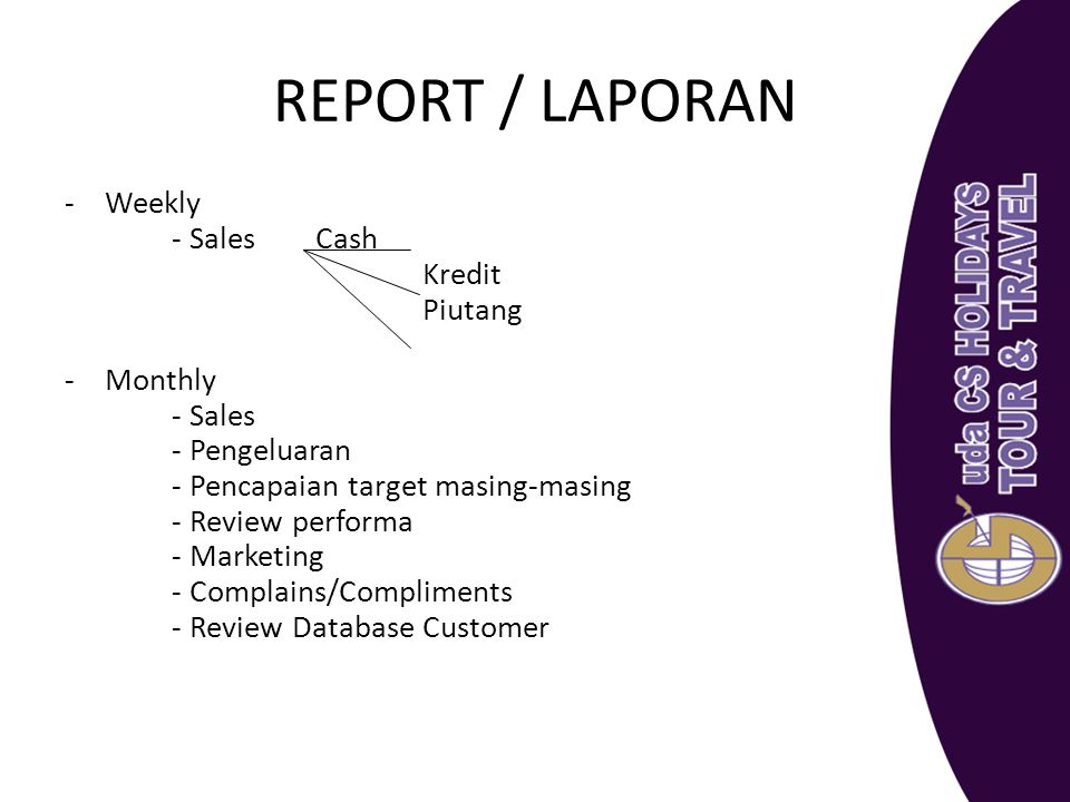 REPORT / LAPORAN Weekly - Sales Cash Kredit Piutang Monthly - Sales