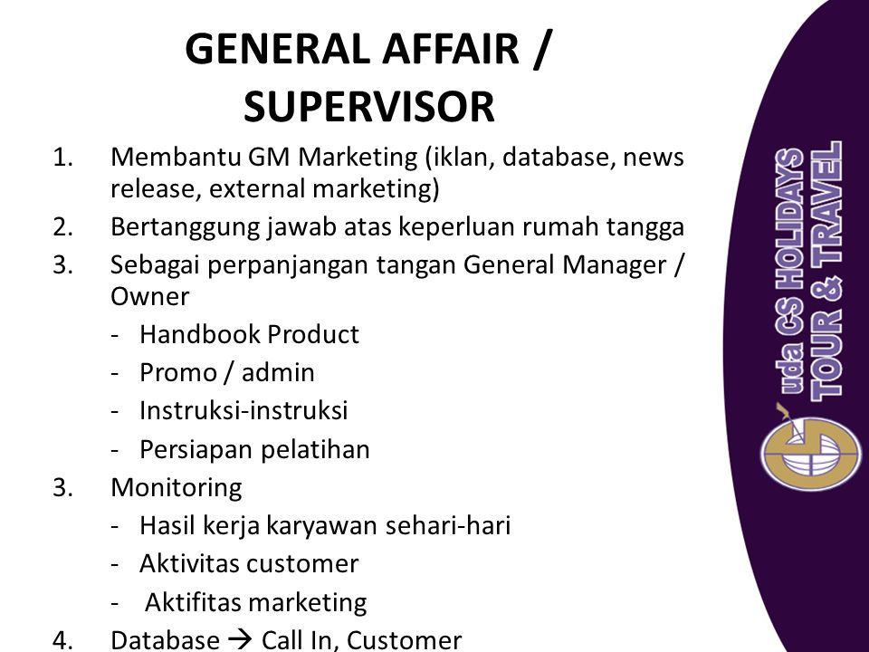 GENERAL AFFAIR / SUPERVISOR