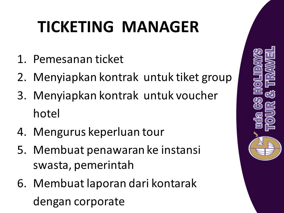 TICKETING MANAGER Pemesanan ticket